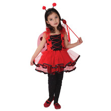 Kids Child Girls Lovely Ladybug Ladybird Fairy Cosplay Costume Fantasia Halloween Carnival Mardi Gras Party Dress