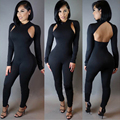 Manera Ahueca Hacia Fuera El Mono Atractivo Largo Mamelucos Womens Jumpsuit Vendaje Negro Manga Larga Party Night Club Bodycon Jumpsuit SL