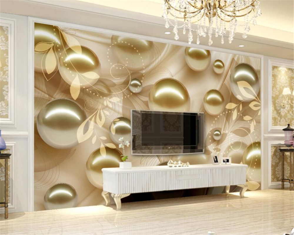 Mural Custom Wallpaper For Wall 3 D European Style Gold ball pearl leaf stereo TV background wallpaper Home Decoration Beibehang