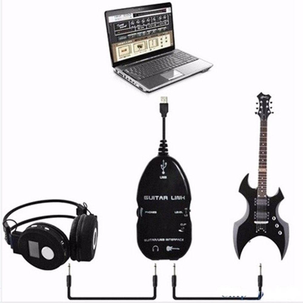 1.4m USB Guitar Link cable Cord Electric Guitar Interface USB Guitar Adapter Audio Effects Regulator For MAC//PC MP3 Recording