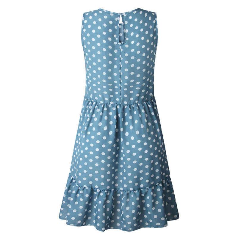 Lossky женское летнее платье модное платье в горошек без рукавов пляжное мини-платье повседневное печатное короткое своб