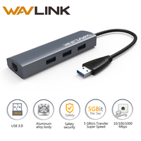 Wavlink 3 Port Usb Hub 3.0 Kart Okuyucu RJ-45 Gigabit Ethernet adaptörü Alüminyum USB 3.0 Hub Windows Mac için USB Cihazlar için OS