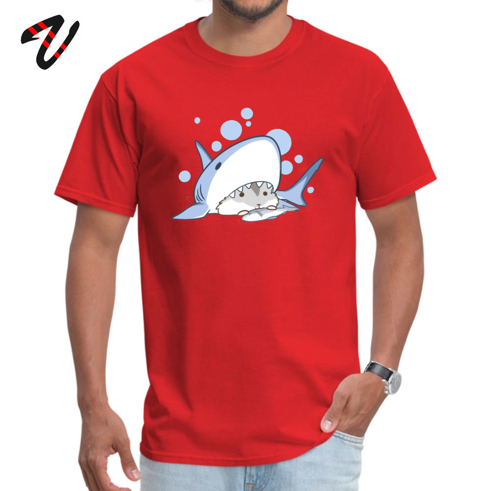 Coupons Hamster Shark Comics Short Sleeve Top T-shirts Mother Day O Neck Pure Cotton T Shirt for Men Top T-shirts Printed On Hamster Shark 2303 red