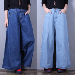 Free Shipping 2019 New Fashion Jeans Pants For Women Wide Leg Trousers Plus Size XL-5XL Summer Elastic Waist Jeans Ankle Length