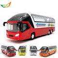 Caliente de metal modelo de coche de juguete autobús turístico de lujo para niños 4 colores voiture autobús limusina con flashing tire volver