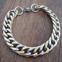 The New Fashion Of Stainless Steel 316 Cool Male Gold Silver Bracelet Length 23cm Width 10mm