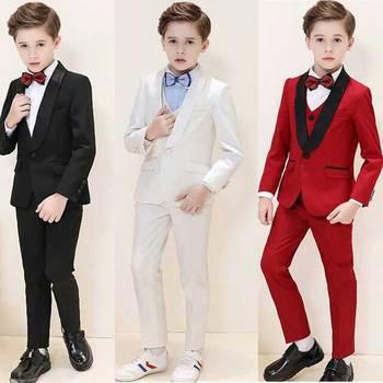 Trajes de bebé varones blancos, traje negro para niño 2019, Blazers rojos para niños, traje de niño hecho a medida, ropa Formal de boda para niños