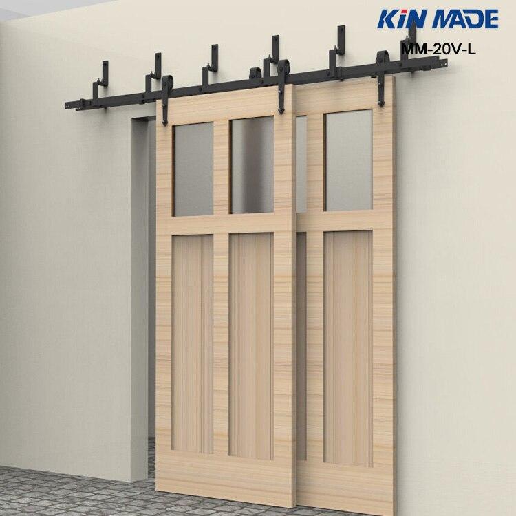 KIN FAIT MM-20V-L Bypass double panneau coulissant quincaillerie de porte de grange Flèche forme rouleau