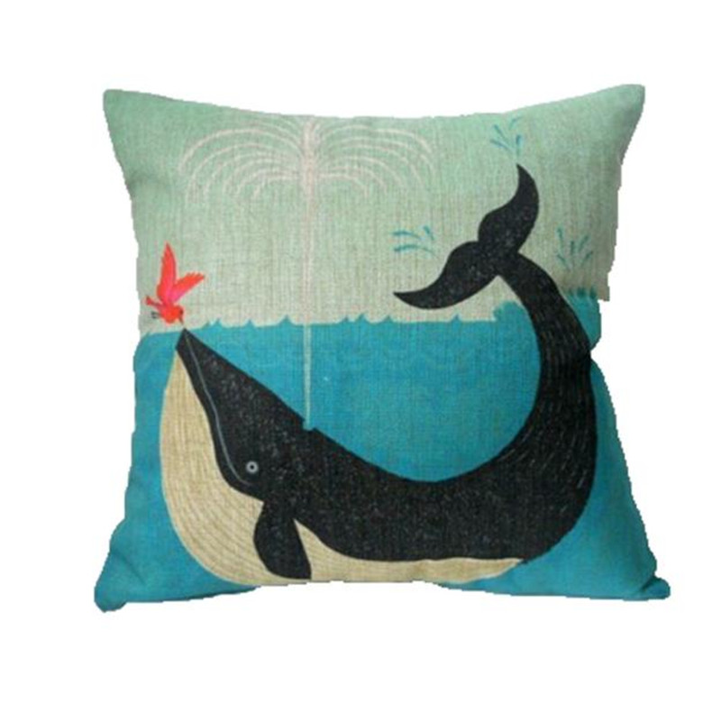 2017 Birds kiss dolphin pattern pillowslip case square pillow cover cushion box for living room bedroom decal on sale