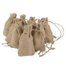 10pcs Small Hessian Drawstring Bags for Wedding Party Favor Gifts (Brown)(China)