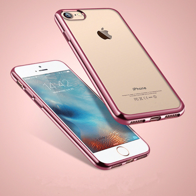 Ultra Thin Rosegold Plating Gilded Soft Transparent Silicone Tpu