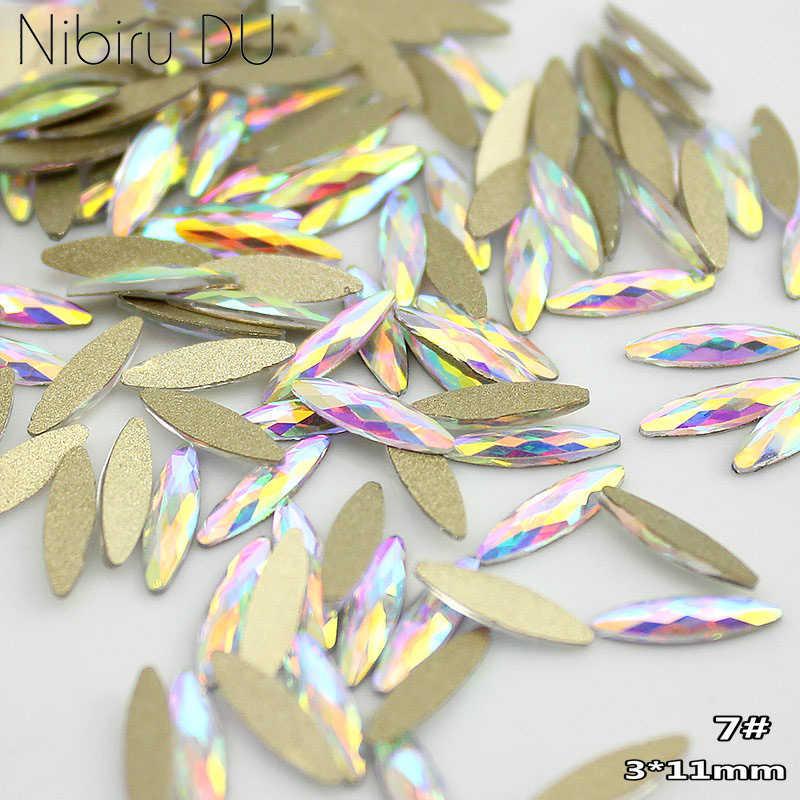 Paku Seni Berlian Imitasi 20 Buah/Bungkus Datar Berbentuk Memanjang Teardrop Kaca Persegi Panjang Api Batu Berwarna-warni untuk 3D Kuku Dekorasi