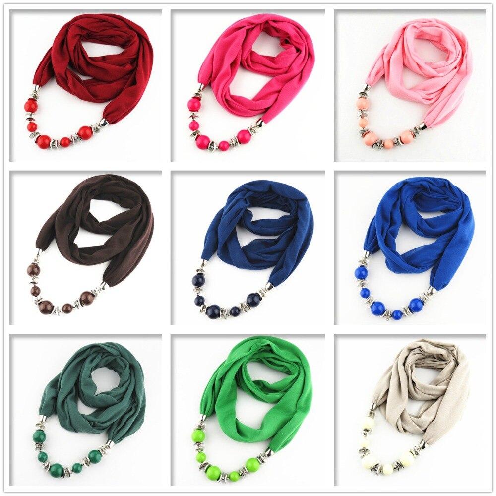 15761fb0cc5a Mode Ethnique Polyester Solide Col Gland Magnifique perles pendentifs bijoux  Collier Bijoux Anneau Écharpe Femmes Châle Foulards Chaude dans Foulards de  ...