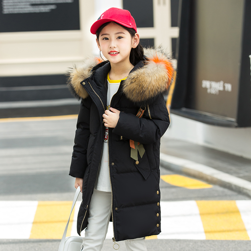 XYF1817 Girl Winter White Duck Down Coat Child Big Fur Collar Keep Warm Thick Hooded kids Jacket Long Outerwear Boys Windbreaker