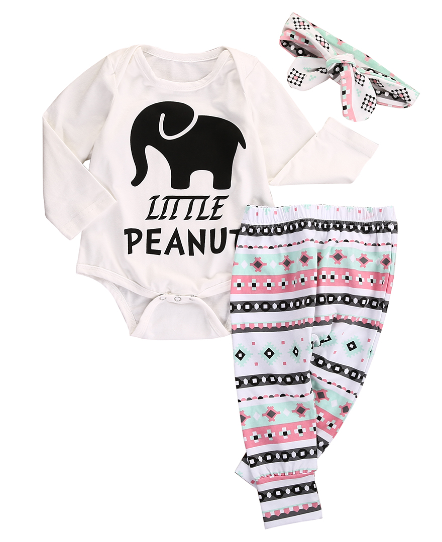 Baby Girl Boy Clothes Set Hot Sale 3pcs Autumn Spring Long Sleeve Bodysuit+Long Pants Legging Outfits Set
