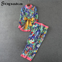 SOPAKA Autumn Women S Two Pieces Pants Clothes Set Fashion Runway Twin Sets Long Sleeve Floral