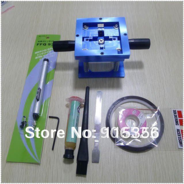 Hot sale BGA reballing kit KF-10 90mm size with Amtech solder flux paste plugs Sucking Pen and 4pcs tools kit