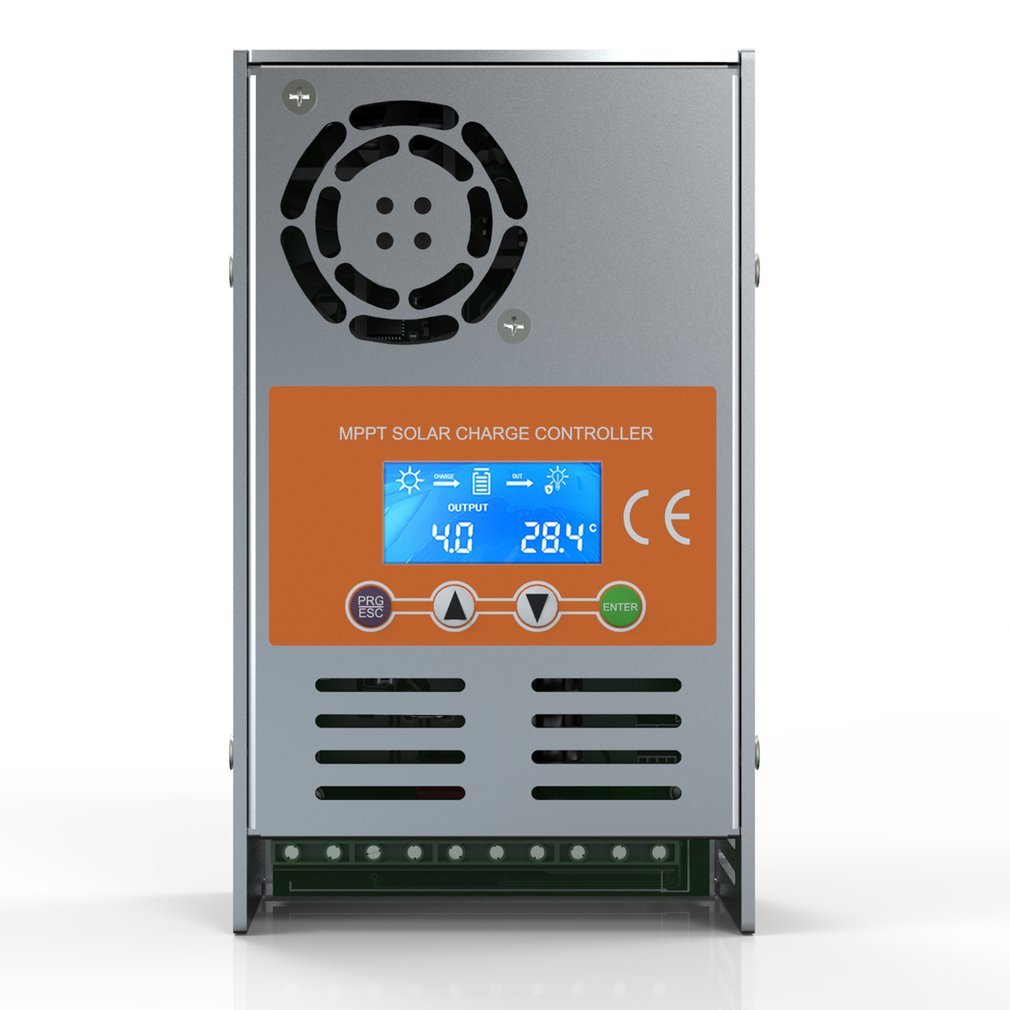 New MPPT 30A 40A 50A 60A Indoor Solar Controller PV Charger 12V/24V/36V/48V Auto Fully Intelligent Recognition with Cooling Fan