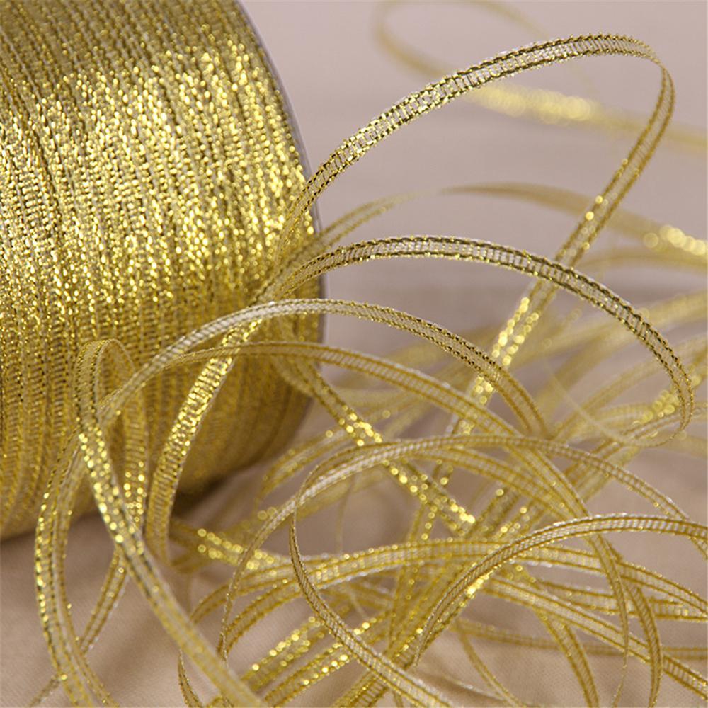 """25 מטרים 6 מ""""מ כסף/זהב משי סאטן סרט מסיבת בית גלישת מתנה לחג המולד לשנה חדשה DIY כלים"""