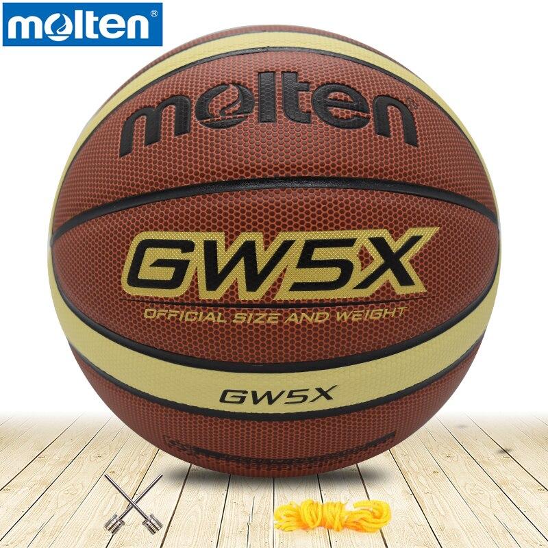 D'origine fondu basket-ball GW5X Haute Qualité Véritable Fondu PU Matériel Officiel Size5 Gratuit Avec Sac Filet + Aiguille