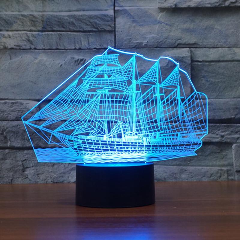 Newest Bedroom Night Desk Light Lamp Versatile 7color illusion Sailboat 3D LED (6)