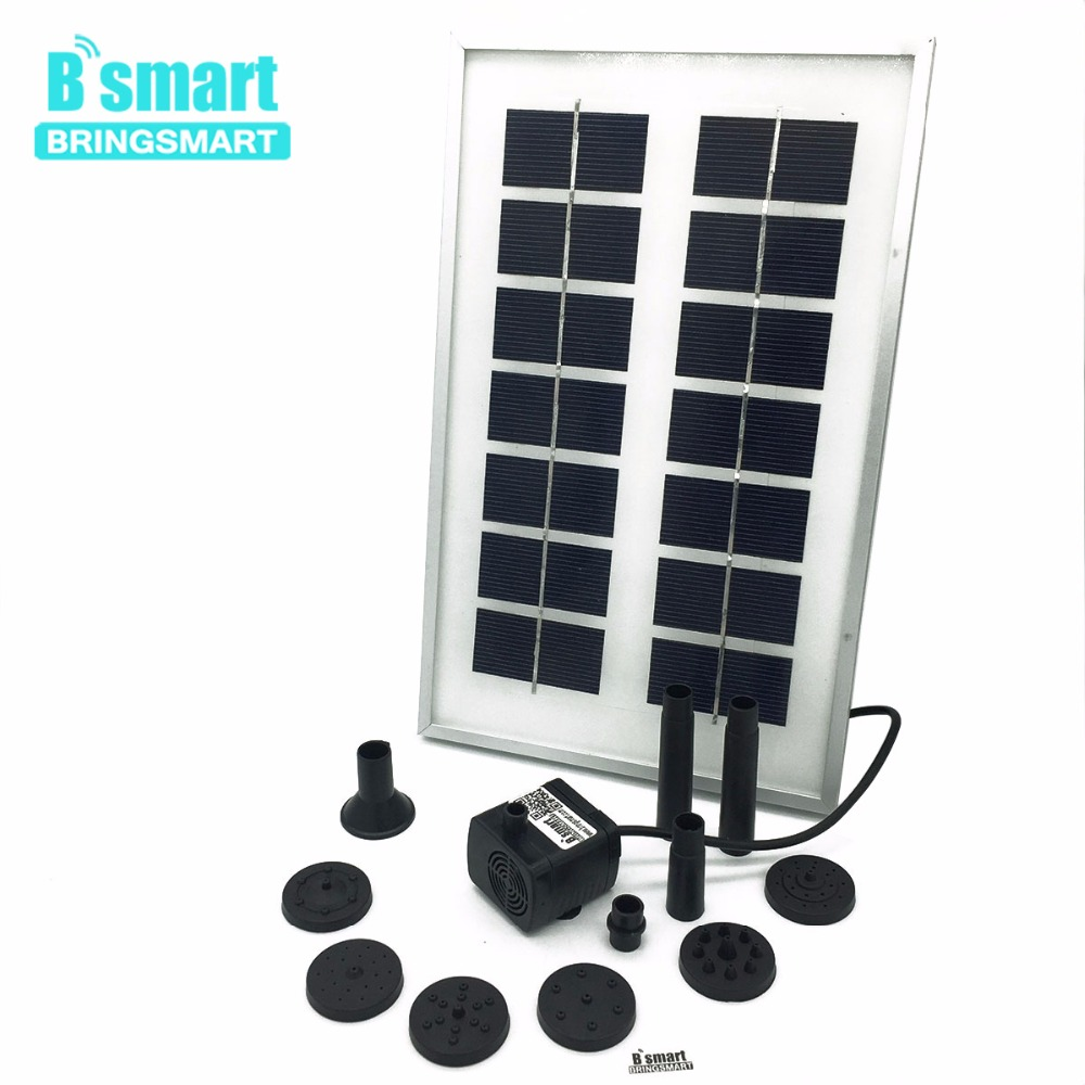 Bringsmart SR-180-3W Micro Solar Water Pump 12V DC Mini Brushless Submersible Pond Fountain Pump With Solar Panel bringsmart jt 180 3w 12v dc brushless solar water pond fountain pump kit 300l h 150cm submersible mini electric pump solar panel