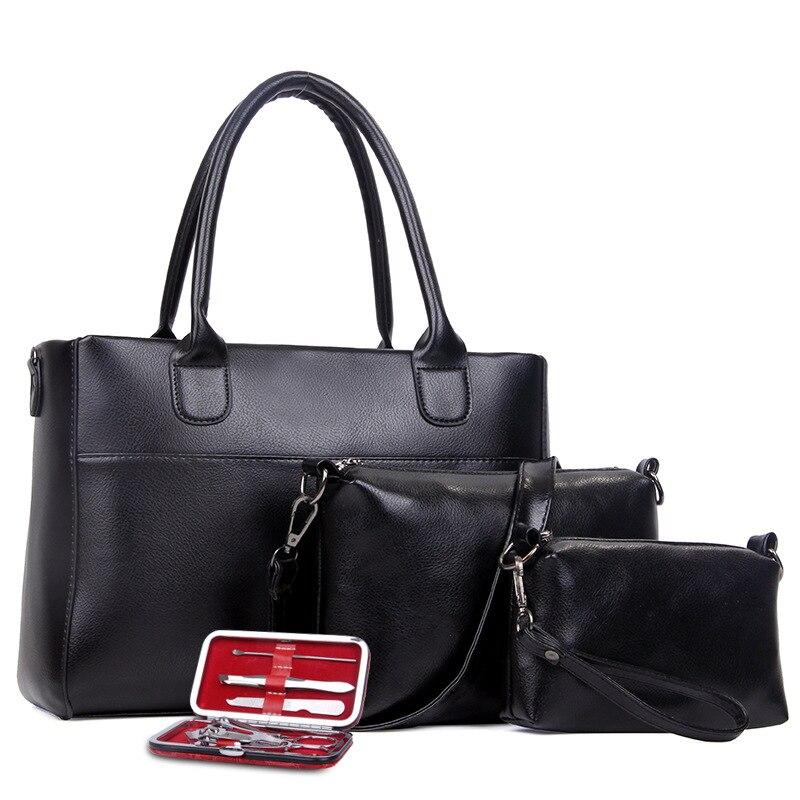 2017 New Fashion Bag Set 4Pcs Women Messenger Bags +handbags +shoulder  Purse Wallets Famous Brands Solid Black Leather Lady