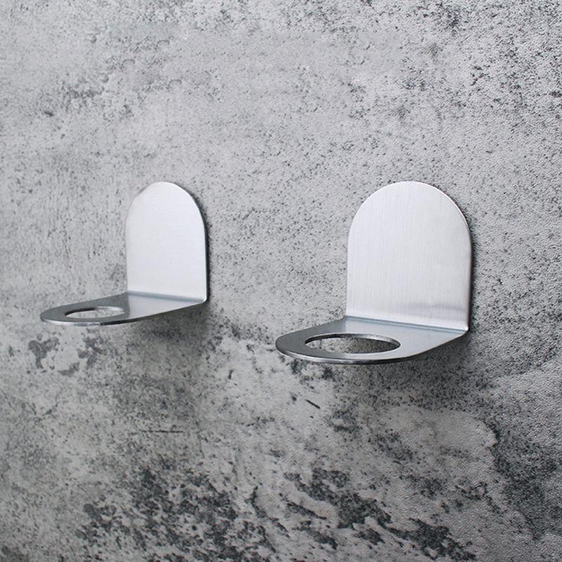 Stainless Steel Wall Mount Soap Shower Gel Dispenser Bottle Holder Hook Hanging Hanger Rack Bathroom Kitchen Organizer No Drill