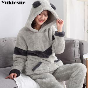 Image 1 - Осенне зимние женские пижамные комплекты, пижамы, одежда для сна, костюм, плотная теплая фланелевая ночная рубашка кораллового цвета, женская пижама с мультяшными животными