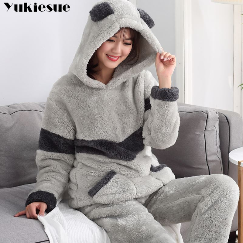 Autumn Winter Women Pyjamas   Sets     pajamas   Sleepwear Suit Thick Warm Coral Flannel nightgown Female Cartoon Animal Pijama Mujer