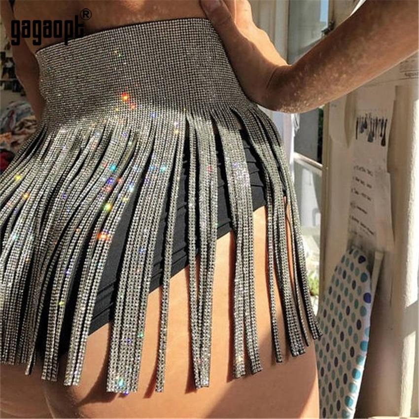 Gagaopt Metal Tassel Chain Mini Skirt Women Glitter Rhinestone High Waist Sequins Summer Luxury Party Outfit Skirts