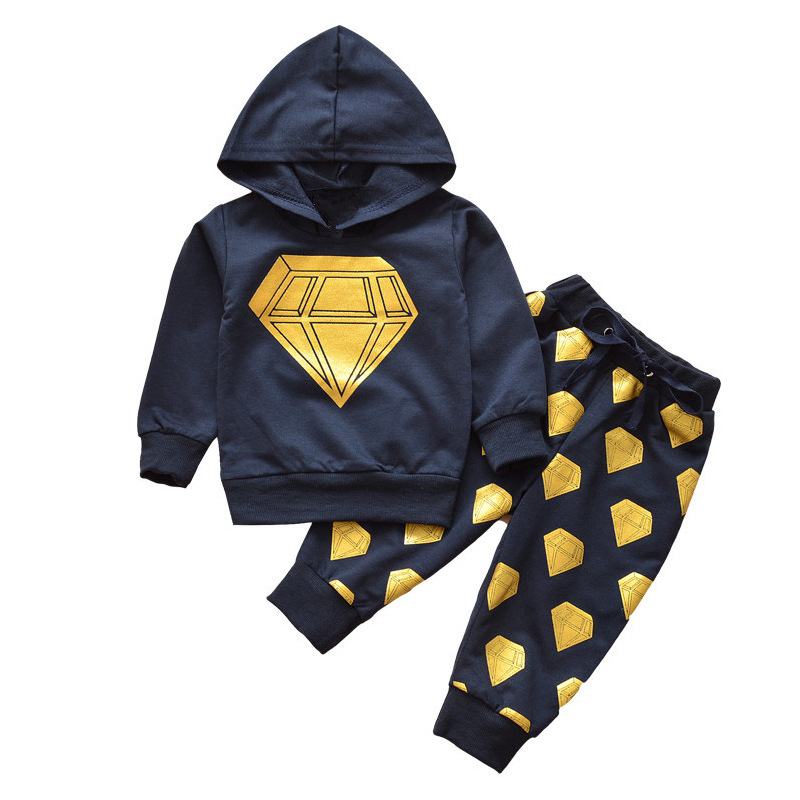 Fashion Baby Boys Clothes Cotton Long Sleeve Navy Hooded Shirts + Pants Sets for Boy Casual Kids Clothes 2PCS