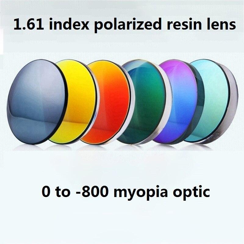 Cubojue 1.61 indice lentille polarisée hommes femmes Anti-reflet UV400 Scratch Polaroid résine lentilles myopie Vision unique 0 à-800