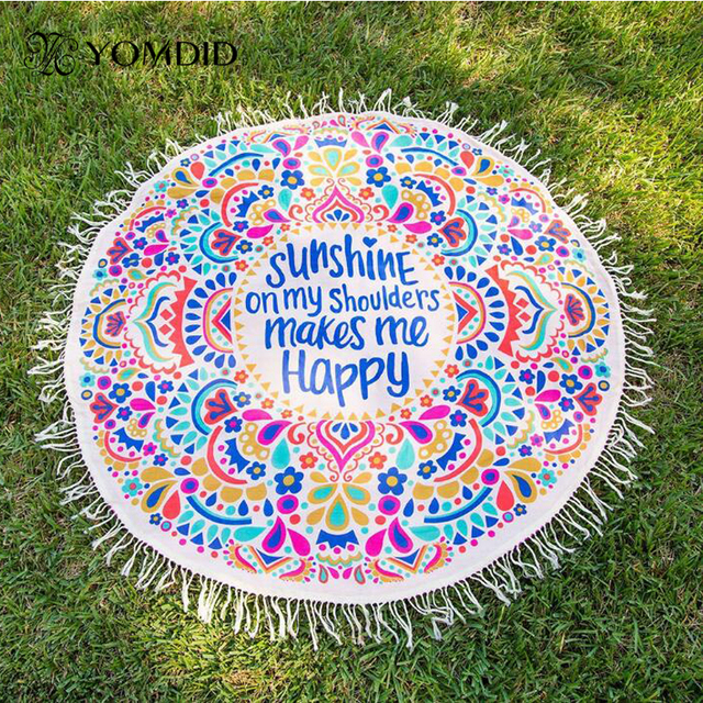 Large 155cm Polyester Cotton Round Tassel Bohemian Printed Beach Towels