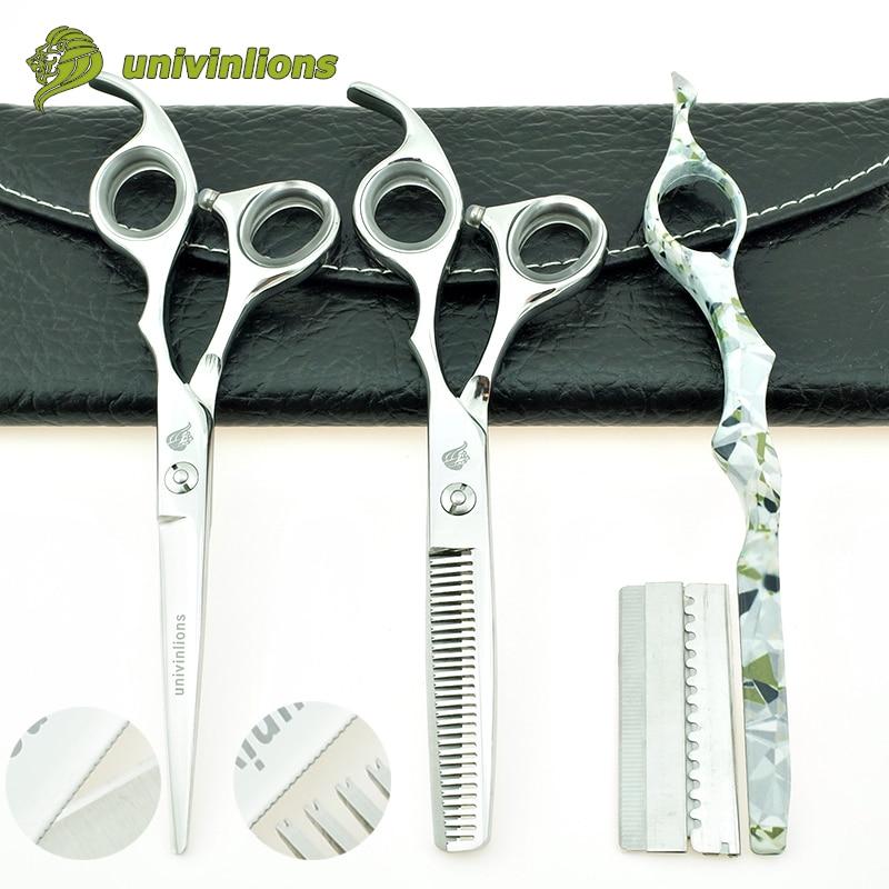 univinlions 6 tommers mikro serrated frisør saks frisør profesjonell hår saks tynn saks salong barber butikk