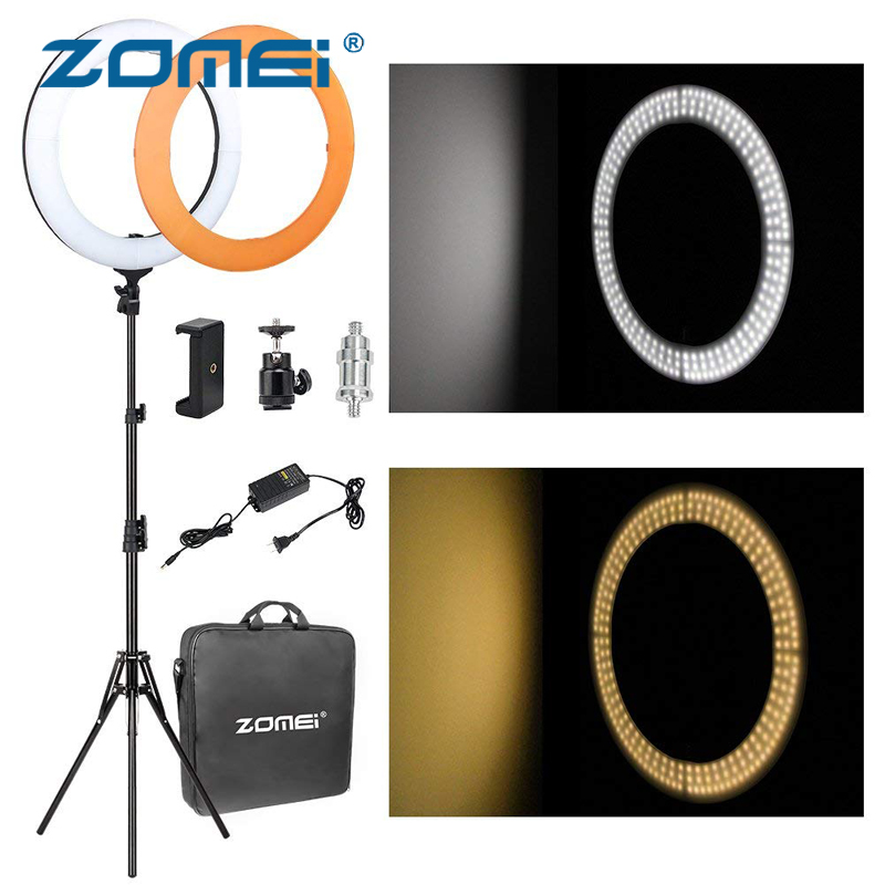 ZOMEi 14 inch LED Ring Light Dimmable 5500K with Color Filter Light Stand for Video YouTube Live Portrait Photography Lighting optolong yulong 2 inch 1 25 inch built in l pro almost no color filter light filter deep space photography filter