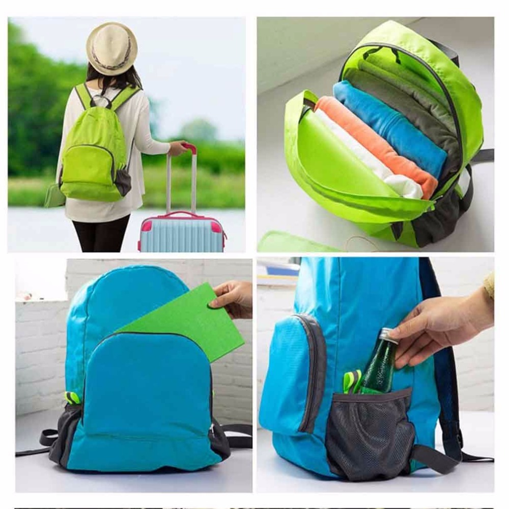 2 Color Men Women Waterproof Backpack Portable Zipper Solid Soft Nylon Outdoor Hiking Bag Travel Rucksack Sports Pack Softback