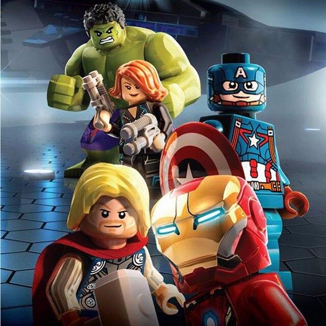 2019 LegoINGy 4 Super-heróis Figuras Vingadores Hulk Spiderman Blocos Tijolos compatível com Brinquedo Para crianças playmobil Legoes