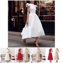 2019 Newly Hot Autumn Winter Women Dress Sleeveless O Neck Solid Color High Waist Lady Party Long Dresses HD88