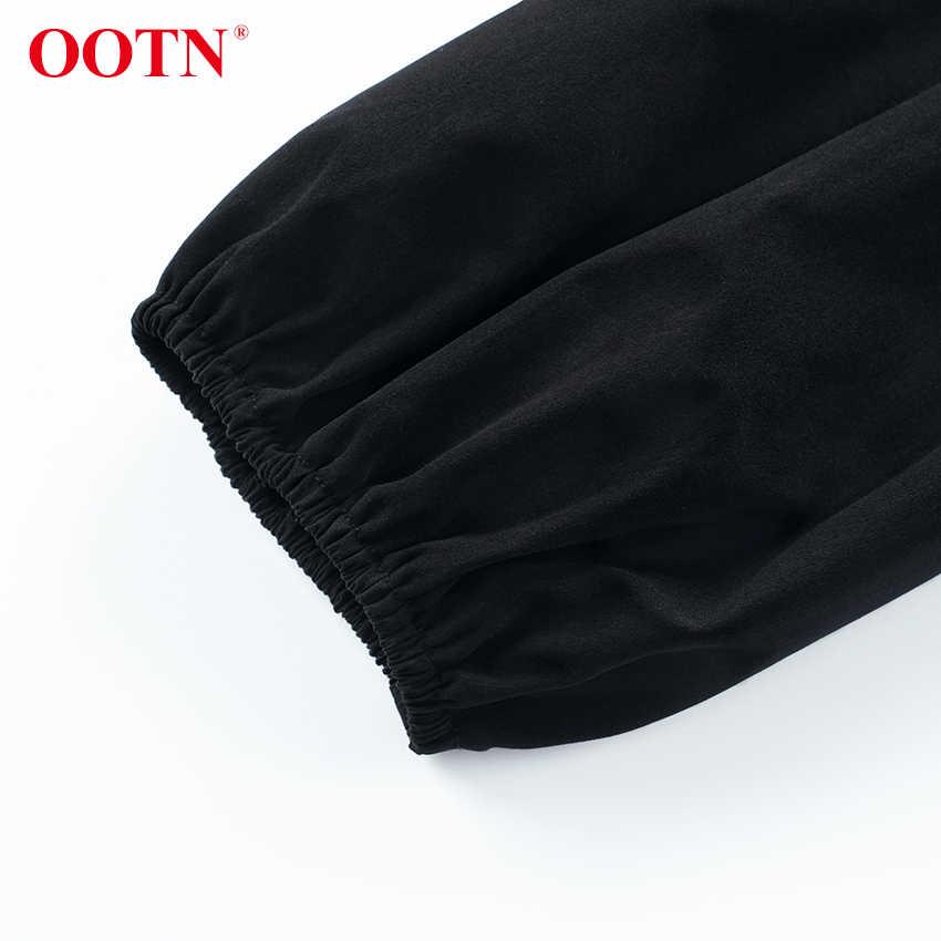 OOTN เซ็กซี่ Backless Lace Up สีดำเสื้อพัฟแขนเสื้อผู้หญิงเสื้อและเสื้อลำลอง O คอ 2019 ฤดูร้อน Peplum Tops หญิงเสื้อ
