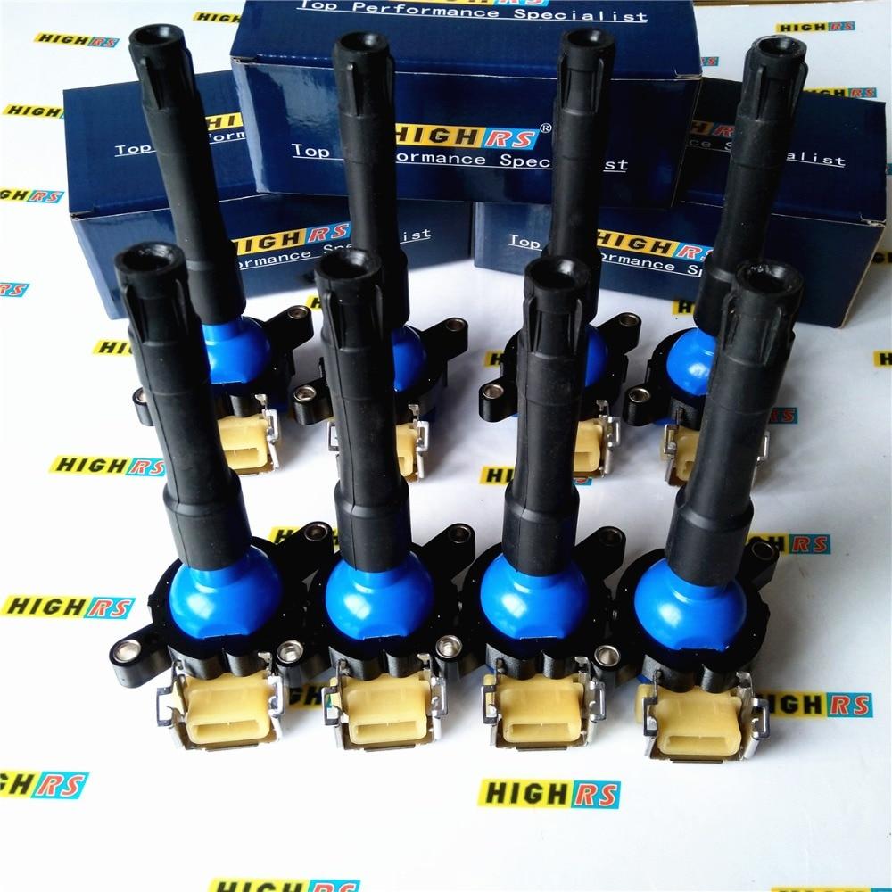 SET OF 8 PERFORMANCE IGNITION COIL COILS FIT BMW E31 E38 E39 E53 V8 M62 540i