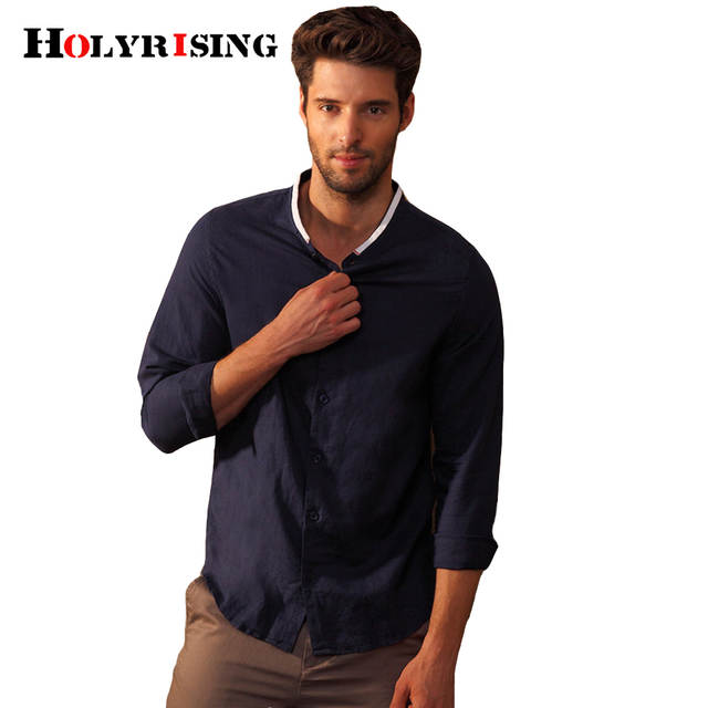 12424165fdc Online Shop linen shirt Men Long Sleeve Summer Style Hawaiian Shirts Sexy  Slim Fit Men Clothes male casual Linen shirt  18202 holyrising
