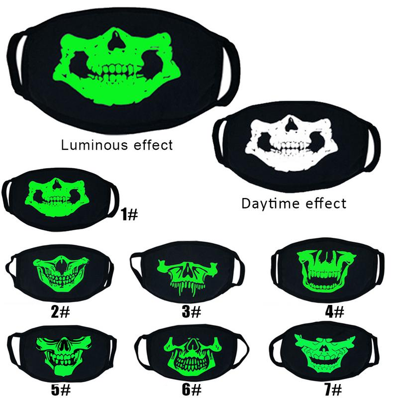 Unisex Luminous Effect Personality Fashion Halloween Mask Cosplay Props Horror Skull Head Teeth Masks Cotton Dust-proof
