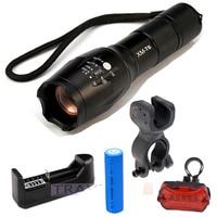1 Complete Set Bicycle Light CREE XM L T6 2000Lumens Flashlight Torch Mount Holder Rear Light