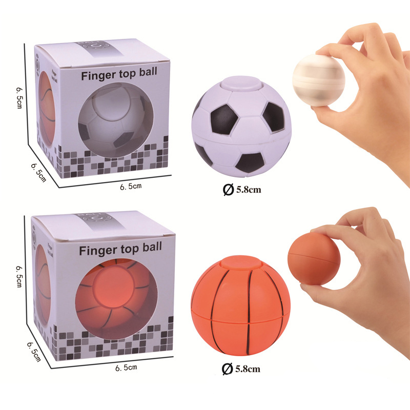 Mini Finger Football Basketball Plastic Hand Spinner with Box EDC Daily Anti Stress Gyro Stress Relief Toys for Kids Adults