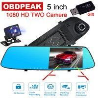 Умный медиа Автомобильный видеорегистратор Camare 5,0 дюймов ночного видения авто Цифровой видеорегистратор FHD 1080 p двойной объектив зеркало за...