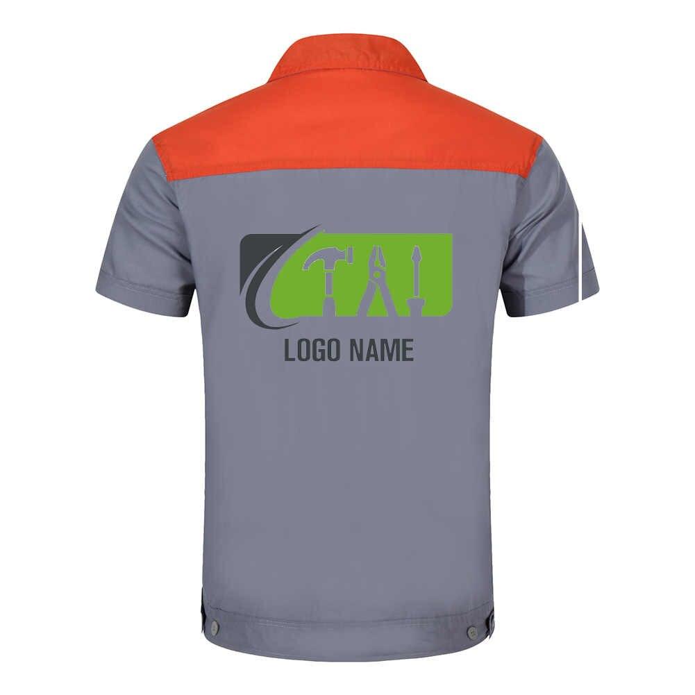 Niestandardowe Logo odzież robocza dla mężczyzn topy i spodnie mechanik Auto mechanika wysokiej jakości pracy odzież dwa kieszeń koszulka