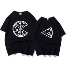 2018 नई मूत्र फैशन महिलाओं और पुरुषों टी शर्ट पिज्जा मुद्रित मजेदार टी शर्ट महिला लूज ग्रीष्मकालीन प्रेमियों के लिए शीर्ष युगल टी शर्ट