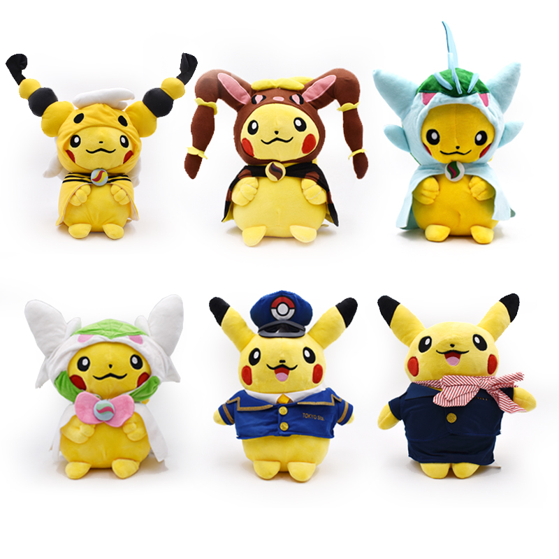 Ampharos Lopunny Gallade Gardevoir Stewardess Captain Pikachu Cosplay Substitute Stuffed Dolls Cute Soft Plush Toy Dolls