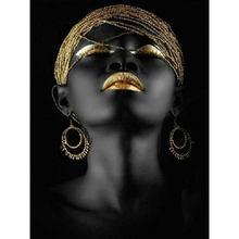 Yikee алмазная живопись черная кожа женщина Алмазная мозаика